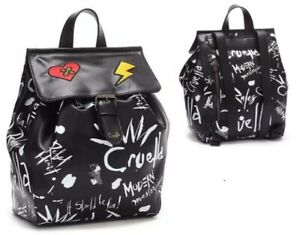 Disney Store Cruella Backpack graffiti-style print 101 Dalmatians Black & White