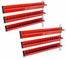 Mechanics Time Saver Vertical 6pc 1/4 3/8 1/2 dr Lock A Socket Magnetic Rail Set