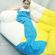 Crocheted Mermaid Tail Blanket Knitting kids&Adult Sofa Sleeping Bag Super Soft