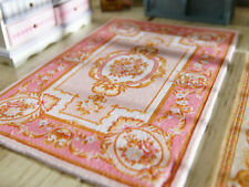 Beautiful Aubusson Design Pink Gold Ivory Dollhouse Miniature Area Rug 1:12