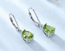 Natural Peridot Drop/Dangle Earrings .925 Sterling Silver 2.4CT set Fine Jewelry