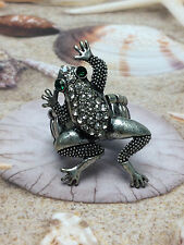 Frog Cool Silver Ring w Green Eyes & White Sparkling Stones Womens Size 7 8 9 10