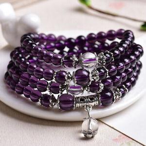 Ladies Crystal Buddhist Stone Amethyst Prayer Mala Beads Bracelet Necklace Gift