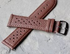 Honey tan stitched leather 22mm watch band driving glove chronograph rally strap