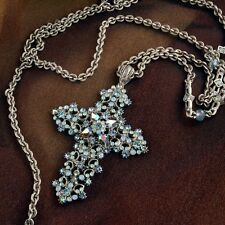 SWEET ROMANCE VICTORIAN STYLE CRYSTAL & LACE CROSS NECKLACE  ST/BLUE