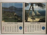 VTG Set Of 2 Pan Am American Airlines Calendar 1965 Travel Poster January March