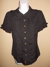 NEW Juicy Couture Ruffle Gold Button short sleeve collar shirt womens L large 10