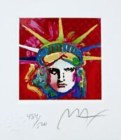 "Liberty Head IV, Ltd Ed Lithograph (Mini 3.5"" x 3""), Peter Max - SIGNED w/COA"