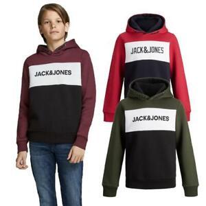 Jack & Jones Boys Logo Sweat Hoodie Junior Fleece Sweatshirt Drawstring Age 8-13