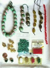 Lot Christmas Color Glass Clay Seed Beads Jewelry Making Craft Supply Green Red