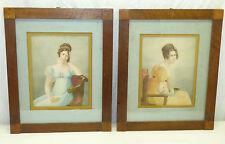 Pair Antique Wood Framed Prints Seated Ladies 1800s Regency Jane Austen Period