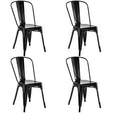 Set of 4 Tolix Style Dining Side Chair Stackable Bistro Cafe Metal Stool Vintage