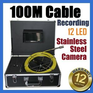100M Snake Cable Under Water Sewer Drain Pipe Wall Inspection Recording Camera