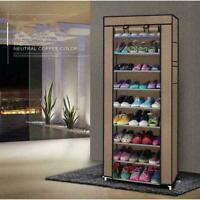 10 Layer Shoes Cabinet Storage Organizer Rack Dustproof Standing Space w/ Cover