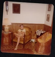 Vintage Photograph Little Boy Sitting in Chair in Retro Living Room