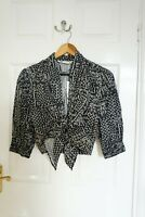 Zara Cropped Knotted Blouse, Plunging V-neck Elastic Cuffs Black, S, BNWT