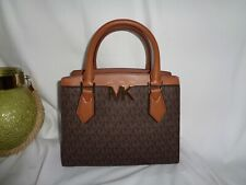 Michael Kors Mott Medium Messenger Satchel Crossbody Handbag Brown MK Logo