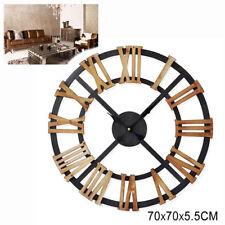 Reloj De Pared Estilo Vintage Maxi Madera Marrón Noir 70X70 Cm Números Romanos