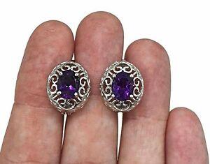 Amethyst Huggie Earrings, Oval Shaped, Sterling Silver, Filigree Heart Design
