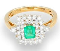 14Ct Yellow Gold 0.50ct Emerald & 0.50ct Diamond Cluster Ring (Size O) 15x12mm