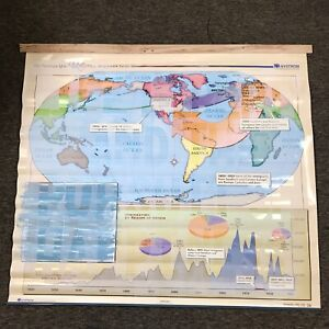 Nystrom US History Map Custom Painted Immigrants School Class Wall Hanger Decor