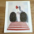 """Vtg. Erte LAFAYETTE Print Unframed Art Deco Lady 21"""" X 17"""""""