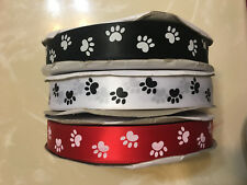 1 inch Red Back White Dog Paw Printed Single Face Satin Ribbon 100 yards