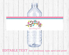 Pink Woodland Owl Water Bottle Labels Printable Editable PDF