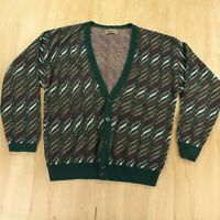 vtg usa made JANTZEN cardigan sweater LARGE abstract print 80s 90s ugly cosby