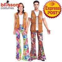K536 1960s Groovy Hippie Hippy 1970s Fringe Retro Disco Men Women Couple Costume