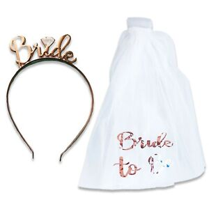 BRIDE TO BE VEIL ON COMB & TIARA HEN PARTY NIGHT DO ACCESSORY ACCESSORIES