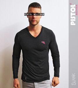 Pistol Boutique Men's plain Dark Charcoal V-neck long sleeve Chest Logo T-shirt