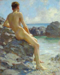 1924 Henry Scott Tuke The Bather  Wall  Art  Canvas