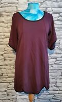 18 And East burgundy shift Dress Size M 12 uk scalloped hem Black piping detail