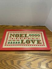 NOEL  LOVE Christmas Counted Cross Stitch Kit  Red Frame Retro Vintage