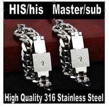 High Grade 316L STAINLESS LOCKING BDSM Bondage Slave SUB Collar bracelet M/s Set