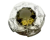Vintage Large Engraved Scottish Silver Claw Set Citrine Brooch GIFT BOXED