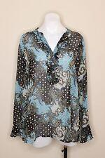 Susan Graver Womens Top Boho Paisley Chiffon Sheer Long Sleeve Black Blue XL