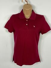WOMENS ABERCROMBIE & FITCH RASPBERRY COLLARED BUTTON UP POLO SHIRT TOP MEDIUM M