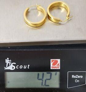 """MARKED 18K SOLID YELLOW GOLD HOOP EARRINGS~4.2 GRAMS~1"""" DIAMETER 1/4"""" WIDE~AS IS"""