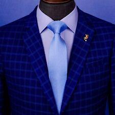 "Blue Solid Professional Stylish  B2B Narrow Mens Suit Fashion Necktie 3"" Wide"