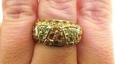 Beautiful Peridot & Citrine Solid Yellow Gold Wide Band Ring