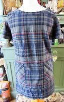 Marks & Spencer Ladies Autograph Checked Lined Dress Blue Mix Colour Size 12