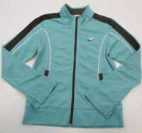 NIKE #K1429 Girls Size L Athletic Fitted Zip Up Brown Aqua Blue Track Jacket