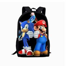 Super Mario Bros Sonic the Hedgehog School Bag Cartoon Backpack Rucksack 17""