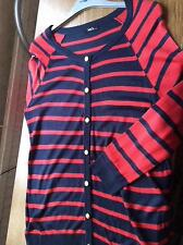Red navy stripe thin knit viscose longline cardigan long sleeve M&Co M 12