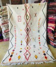 Moroccan beniourain rug Red Wool Handmade Berber carpet (9 Ft x 5.51 Ft)