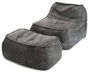 Bean bag Leather Suede Soft Sofa without Bean Grey for luxuries Home Decor gift