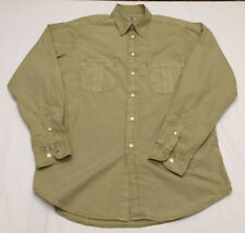 Beretta Long Sleeve Button Up Shooting Hunting Shirt Men Size Large Beige