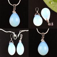 2x Opal Crystal Gemstone Stone Teardrop Pendant Bead For Necklace Jewelry Making